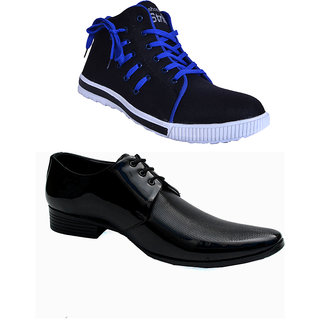 buy shoe striker black blue casual shoes combo with black