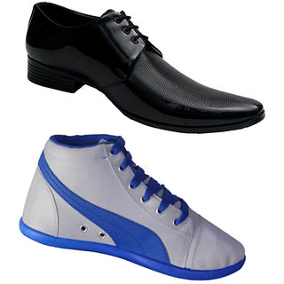 buy shoe striker black formal shoes combo with grey casual