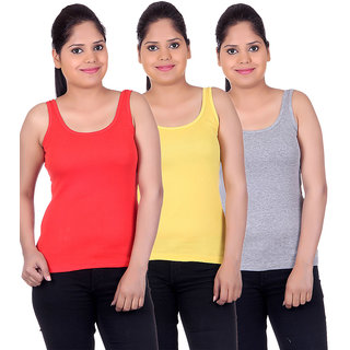 White Moon Camisoles and Vests 1500 - Pack of 3 (Red-Yellow-Grey)