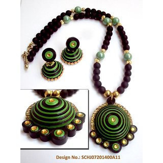 Green and Black neckpiece with paper quilled pendant