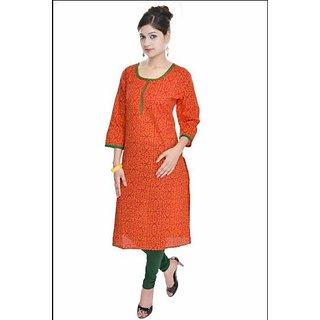 womens cotton ornage kurti