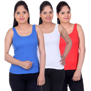 White Moon Camisoles and Vests 1500 - Pack of 3 (Royal Blue-White-Red)