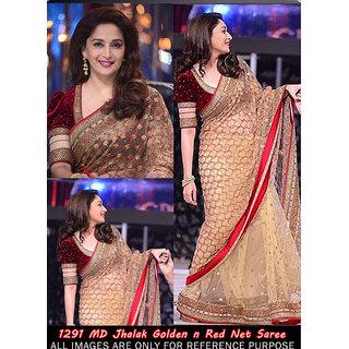 Bollywood Madhuri Jhalak Golden N Red Net Saree