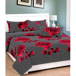Geonature Multi Red Rose Poly-Cotton 1 Double Bedsheet with 2 pillow cover (GBEDSHEET2-1)