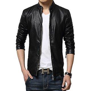 Mens PU Leather Jacket Black Colour