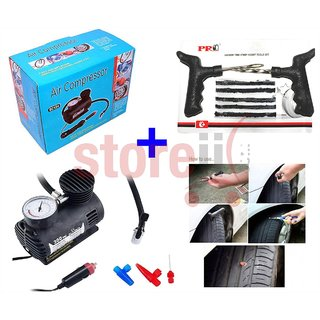 Combo of Air Compressor with Gauge   Tubeless Tyre Puncture Kit