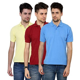 Grand Bear Pack Of 3 Cotton Polo T-Shirt For Men