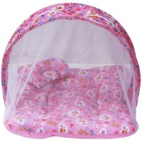 (SUMMER SPECIAL) Firststep combo of baby pink mosquito net bed and new born baby front open jhabla set pack of 8 pcs