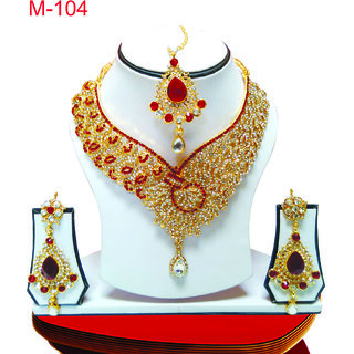 American Diamond Maroon Necklace Set Earrings with Maang Tika M-104