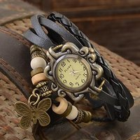 Glory Round Dial Brown Leather Strap Womens Quartz Watch