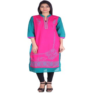 Jaipur Prints Pink Ladies Formal Kurta in Printed Body HC32PINK