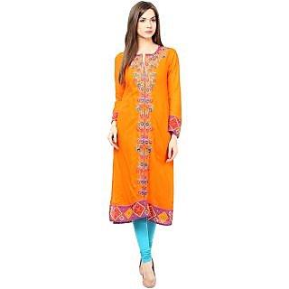 Prakhya Orange Rayon Embroidered Kurta For Women