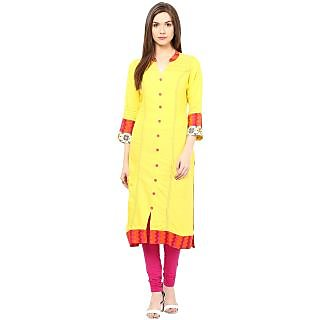Prakhya Yellow Rayon Solid/Plain Kurta For Women