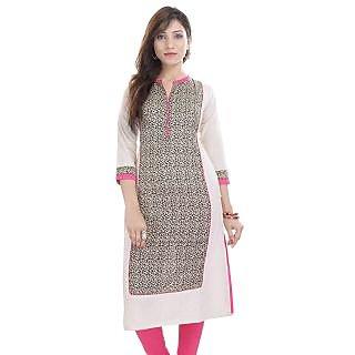 Prakhya Pink Linen Printed Kurta For Women