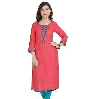 Prakhya Pink Rayon Embroidered Kurta For Women