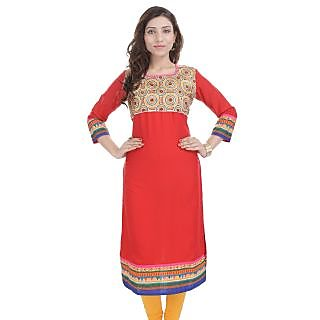 Prakhya Red Rayon Embroidered Kurta For Women