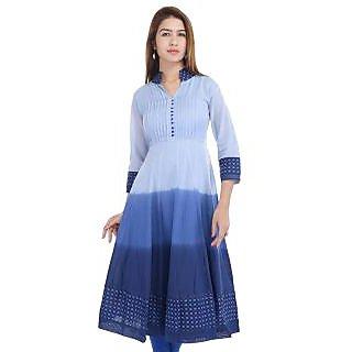 Prakhya Blue Rayon Solid/Plain Kurta For Women
