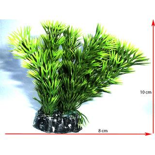Aquarium decoration plastic plant fish tank purpose green leaf 8 cm