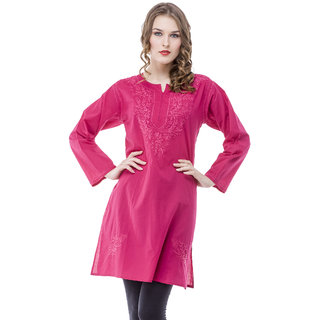 Saadgi Pink Lucknowi Chikankari Embroidered Kurta For Women