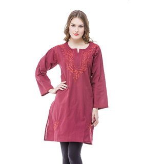 Saadgi Maroon Lucknowi Chikankari Embroidered Kurta For Women