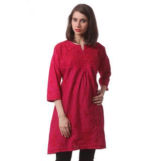 Saadgi Pink Lucknowi Chikankari Embroidered Kurta For Women