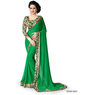New exclusive green chiffon printed FS-1077 saree by bhoomi fashion