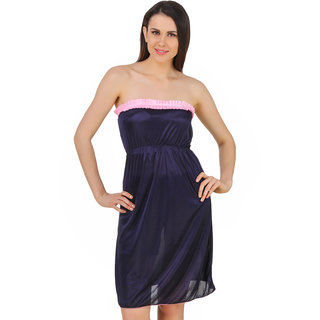Fasense Women Satin Nightwear Sleepwear Off Sholder Short Nighty (DP182 C) 97de43460