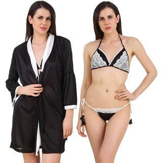 Fasense Women Satin Nightwear Sleepwear 3 Pc Set Of Short Wrap Gown, Bra  Thong  (DP187 B)