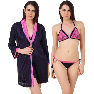 Fasense Women Satin Nightwear Sleepwear 3 Pc Set Of Short Wrap Gown, Bra  Thong  (DP187 D)