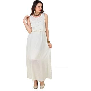 Fasense WomenS Solid Round Neck Cream Sexy Evening Dress  (FD002 C)