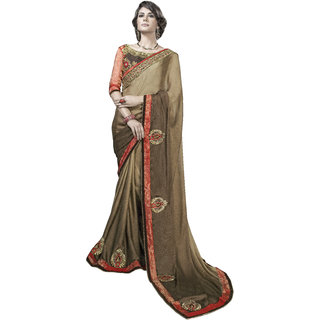 Designer Beige embroidered georgette saree with blouse piece