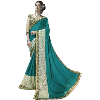 Designer Teal embroidered georgette saree with blouse piece