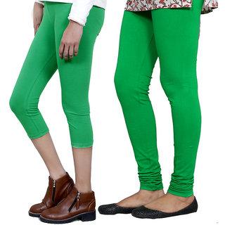 IndiWeaves Girls Green Cotton Capri With 1 Legging (7180171036-IW)