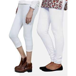 IndiWeaves Girls White Cotton Capri With 1 Legging (7180271049-IW)