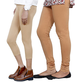 IndiWeaves Girls Beige Cotton Capri With 1 Legging (7180771034-IW)