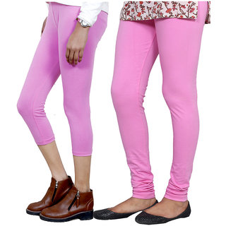 IndiWeaves Girls Pink Cotton Capri With 1 Legging (7180971040-IW)