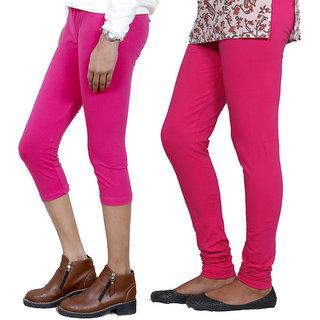 IndiWeaves Girls Pink Cotton Capri With 1 Legging (7181271030-IW)