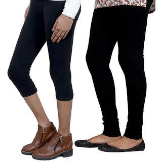 IndiWeaves Girls Black Cotton Capri With 1 Legging (7181371039-IW)