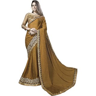 Designer Mustard Yellow embroidered satin saree with blouse piece