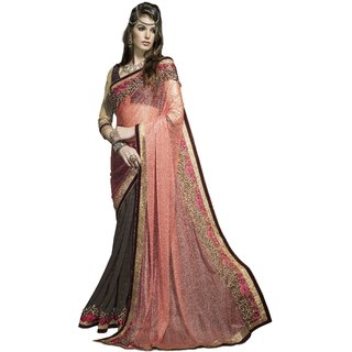 Indian Designer Brown and Orange embroidered georgette saree with blouse piece