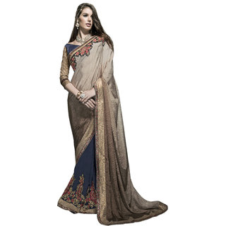Designer Navy Blue and Beige embroidered georgette saree with blouse piece