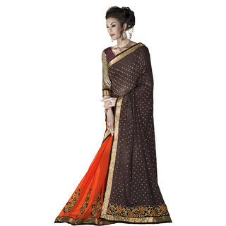 Designer Orange and Maroon embroidered georgette saree with blouse piece