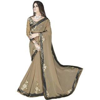 Designer Beige embroidered georgette saree with blouse piece