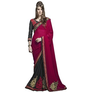 Designer Black and Red embroidered georgette saree with blouse piece
