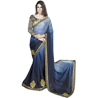 Designer Blue embroidered georgette saree with blouse piece