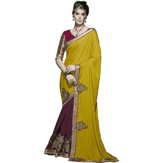 Indian Designer Maroon and Yellow embroidered georgette saree with blouse piece