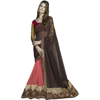 Indian Designer Orange and Brown embroidered georgette saree with blouse piece