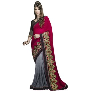 Designer Grey and Red embroidered georgette saree with blouse piece