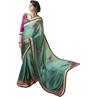 Designer Turquoise embroidered Chiffon saree with blouse piece