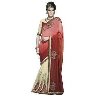 Indian Designer Off White and Orange embroidered georgette saree with blouse piece